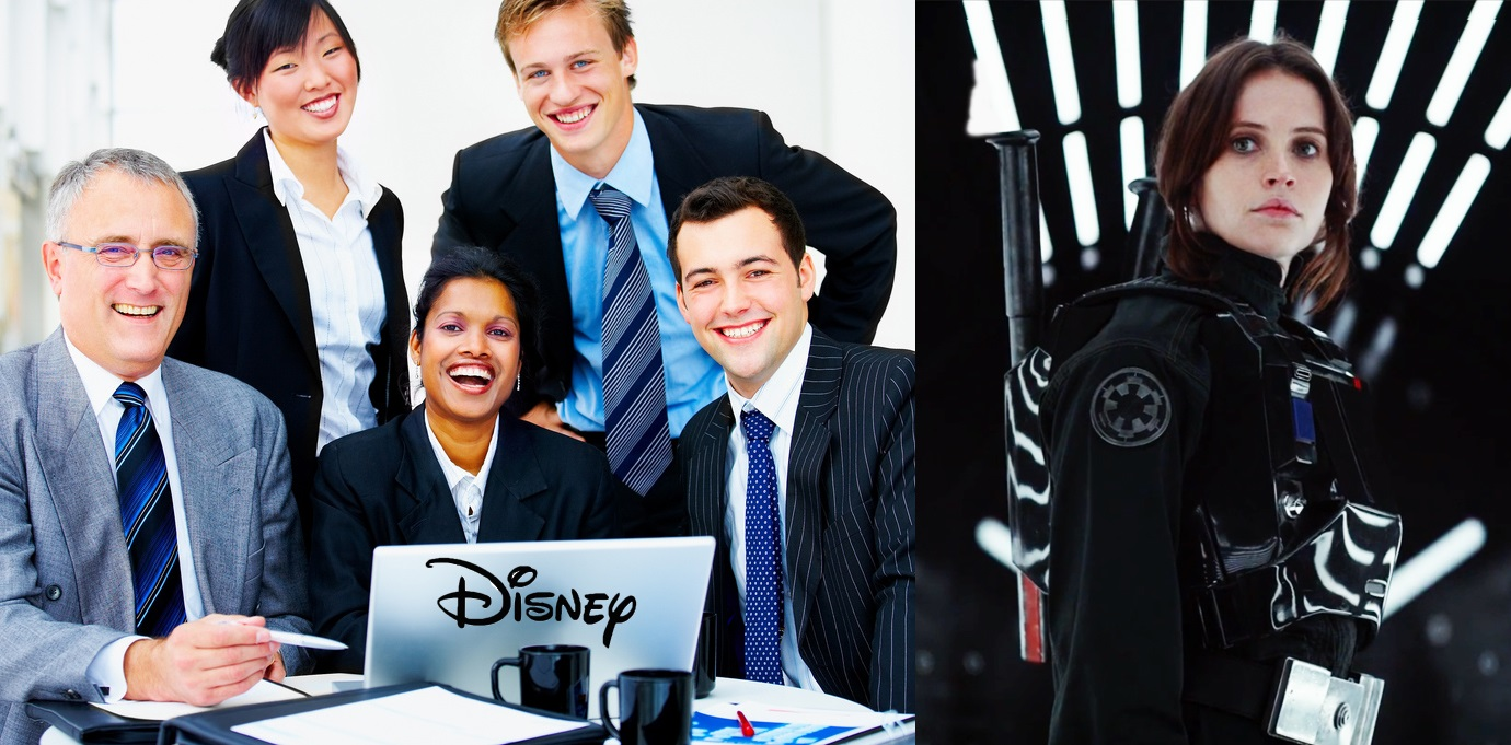 Disney is Happy to once again ruin Star Wars, sexist backlash, best worst youtube comments tweets, The onion headlines satire news, backlash Felicity JonesDarth Vader, Happy Disney Executives, George Lucas, STAR WARS: ROUGE ONE complaints, problems, Alan Horn interview, Jyn Erso, filming, on camera set, interview with actress controversial controversy