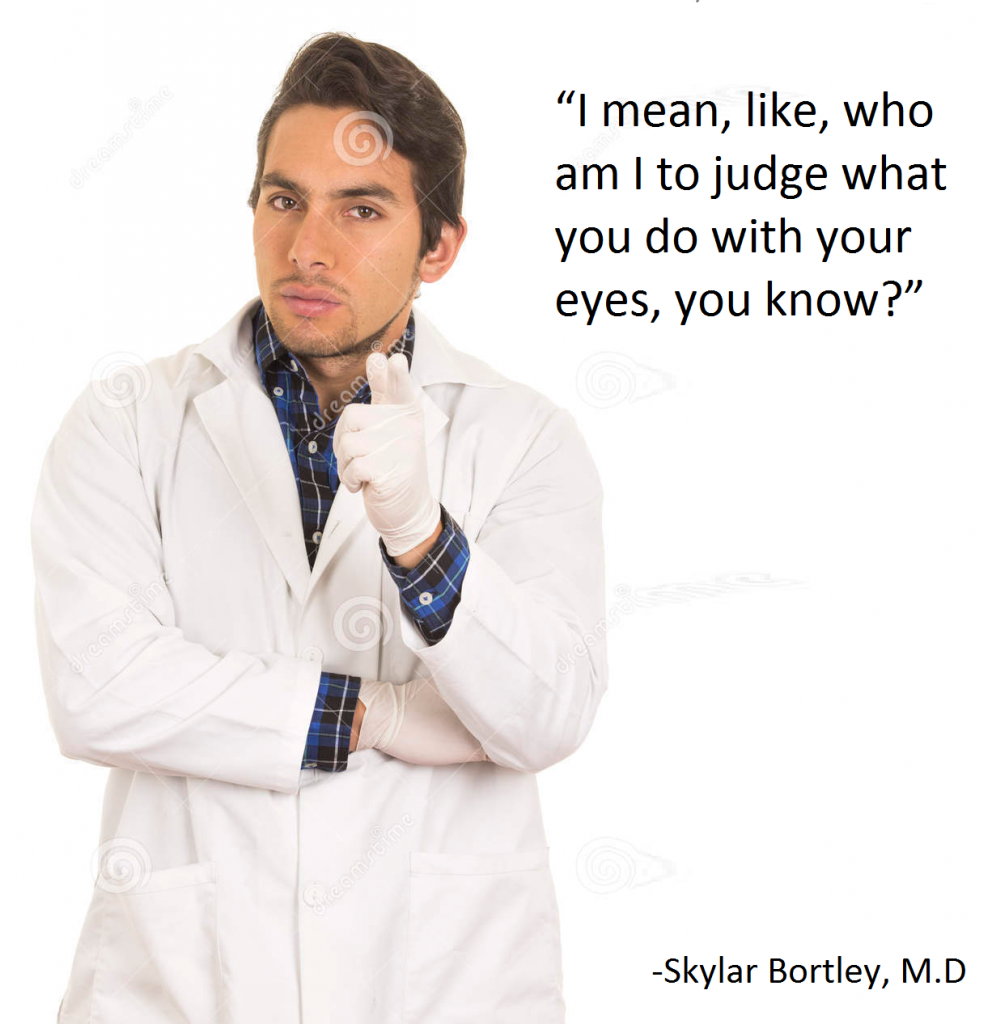 skylar bortley MD., colorado top optometrist, worst optometrist advice blunders, biggest optometry eye controversies, satire, best top funniest number one solar eclipse satire meme